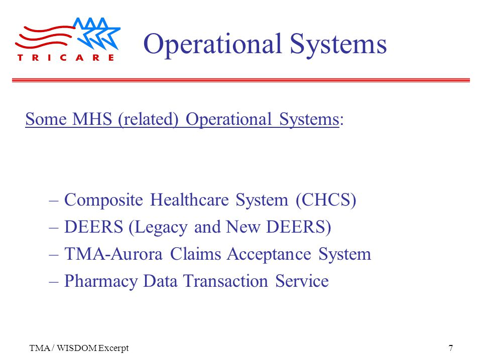 TMA / WISDOM Excerpt7 Some MHS (related) Operational Systems: –Composite Healthcare System (CHCS) –DEERS (Legacy and New DEERS) –TMA-Aurora Claims Acceptance System –Pharmacy Data Transaction Service Operational Systems