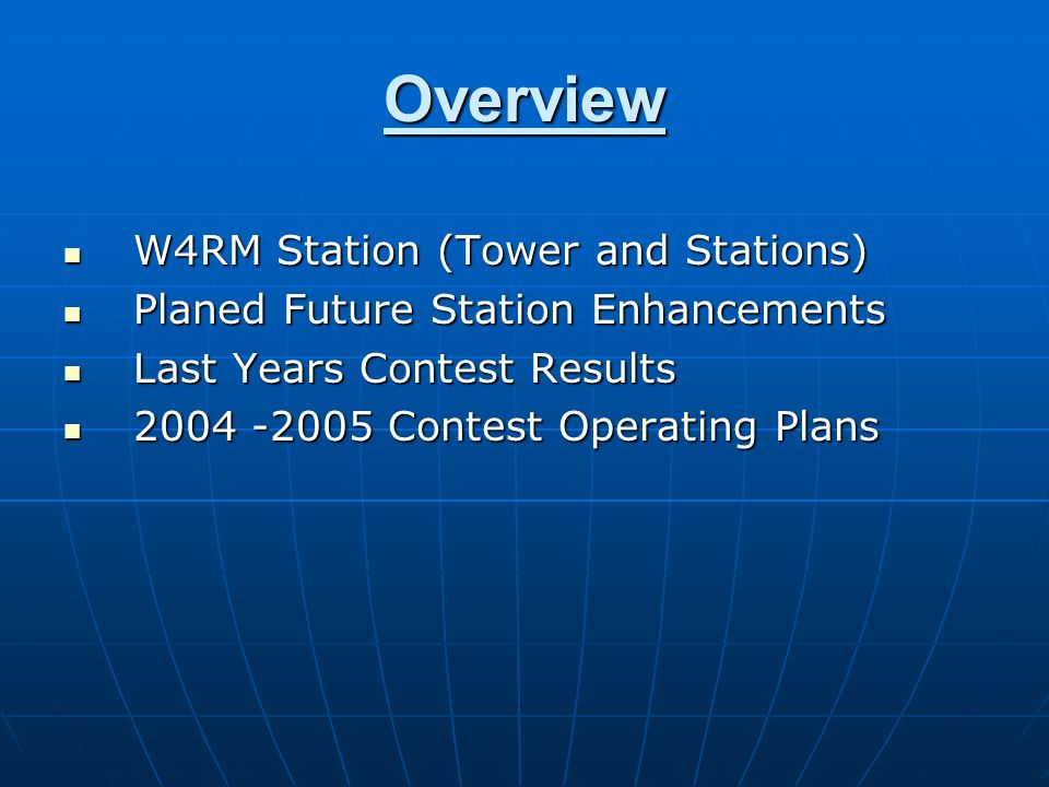 W4RM Station Location and Tower The W4RM M2 Station is built on 10 acres in Nokesville, Va.