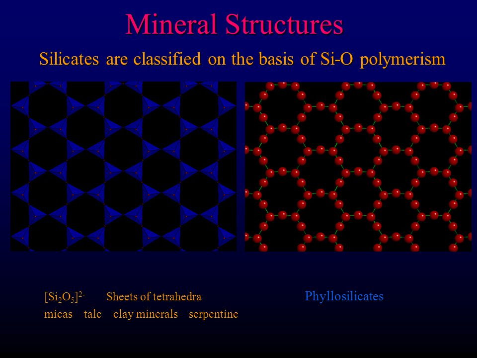 Mineral Structures Silicates are classified on the basis of Si-O polymerism [SiO 3 ] 2- single chains Inosilicates [Si 4 O 11 ] 4- Double tetrahedra p