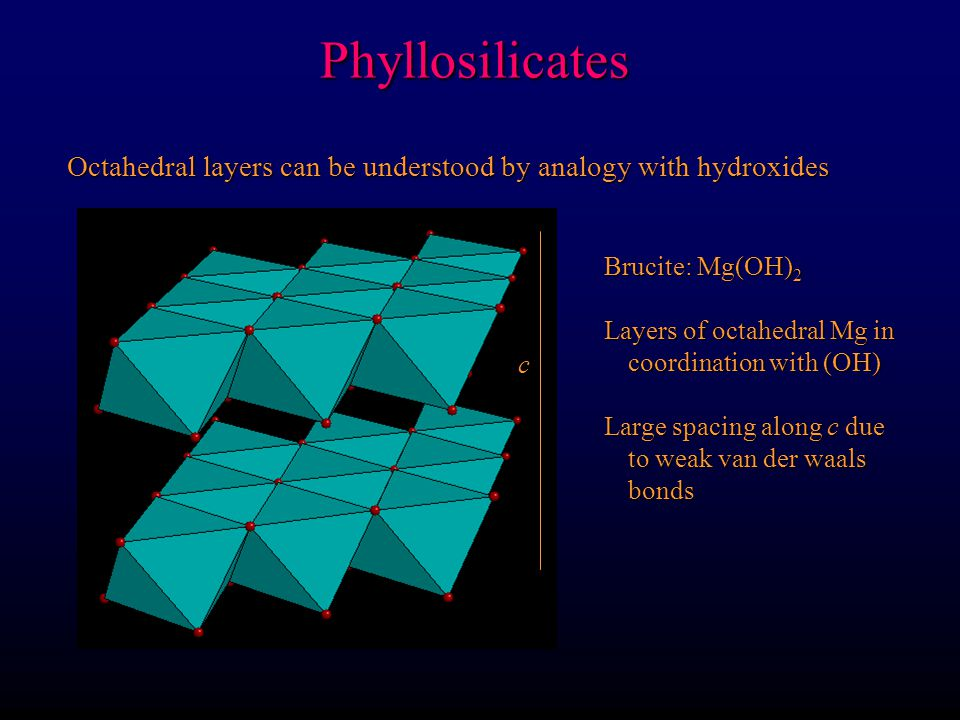Tetrahedral layers are bonded to octahedral layers (OH) pairs are located in center of T rings where no apical O Phyllosilicates