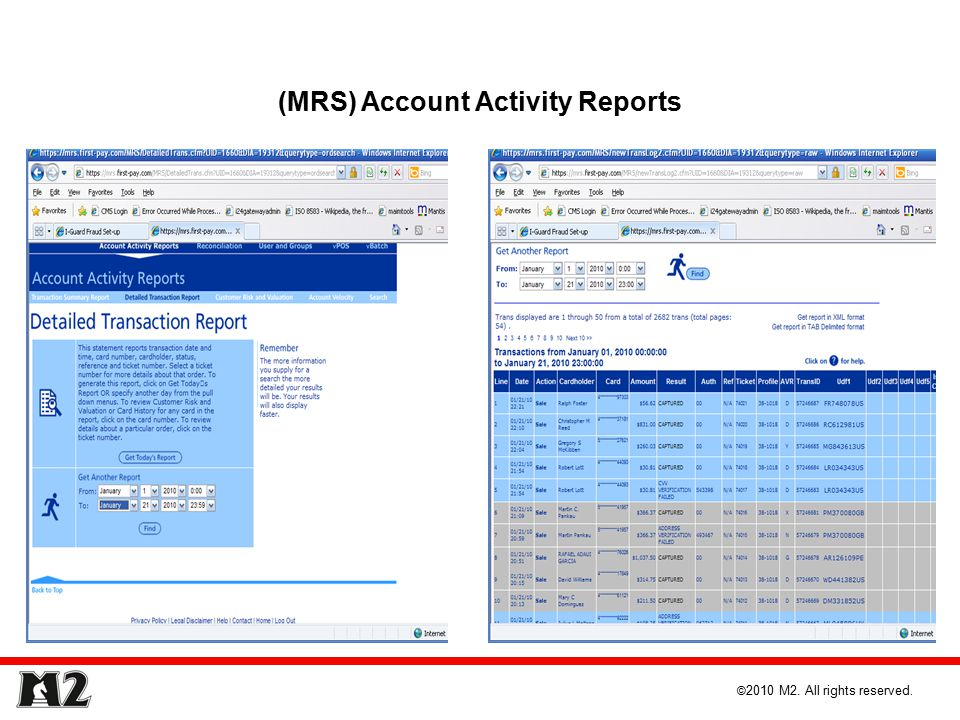 (MRS) Account Activity Reports © 2010 M2. All rights reserved.
