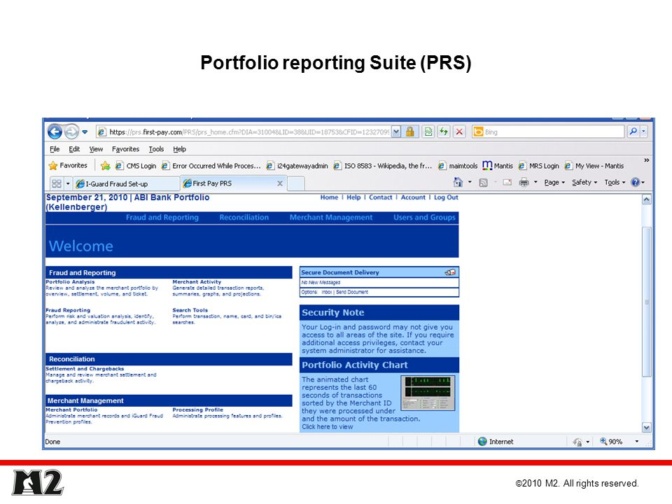 Portfolio reporting Suite (PRS) © 2010 M2. All rights reserved.