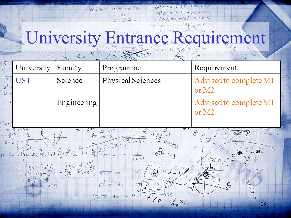 13 UniversityFacultyProgrammeRequirement USTSciencePhysical SciencesAdvised to complete M1 or M2 EngineeringAdvised to complete M1 or M2 University Entrance Requirement
