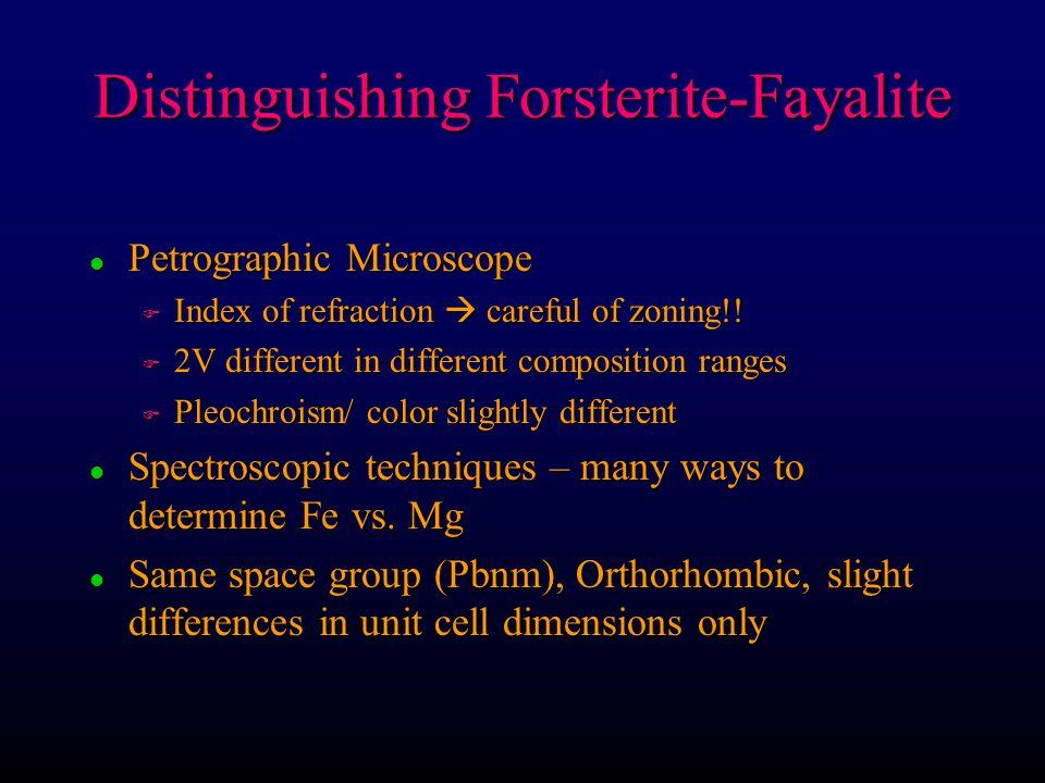 Olivine minerals l Solid solution forsterite-fayalite, tephroite- glaucochroite, monticellite-kirschsteinite l Not in between  no forsterite-tephroite series Larnite – Ca 2 SiO 4