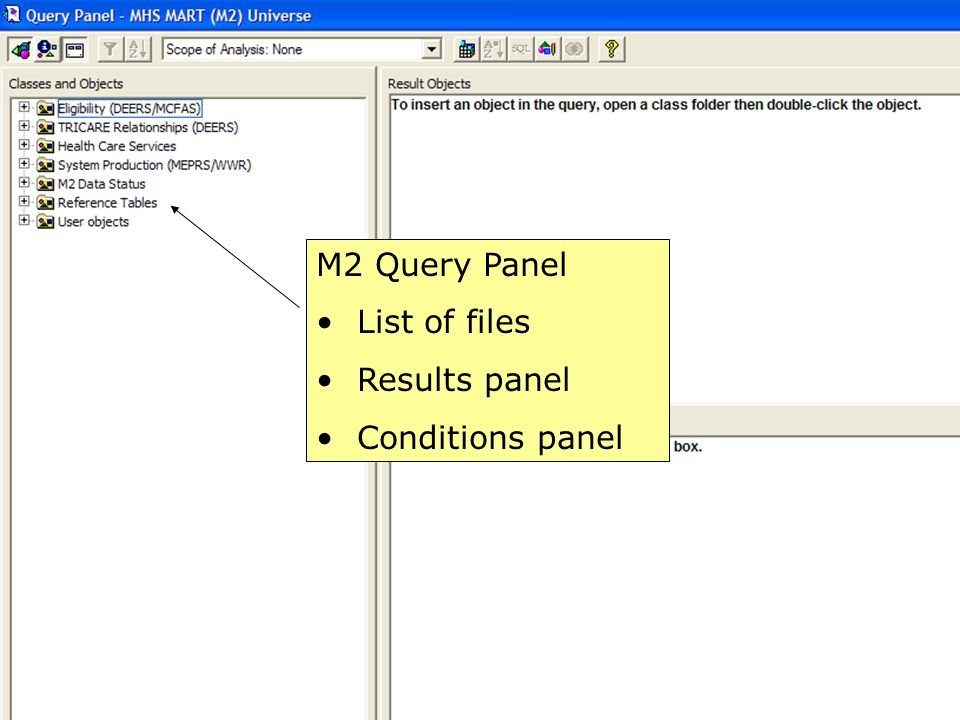 43 M2 Query Panel List of files Results panel Conditions panel