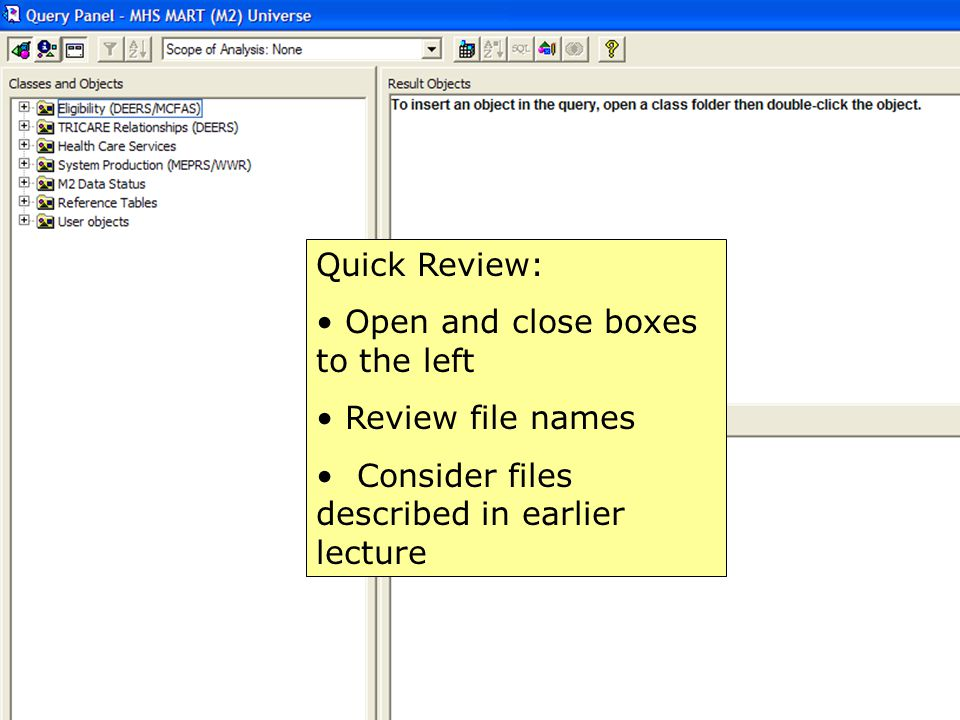 44 Quick Review: Open and close boxes to the left Review file names Consider files described in earlier lecture