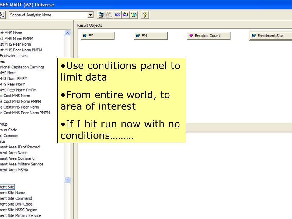 49 Use conditions panel to limit data From entire world, to area of interest If I hit run now with no conditions………