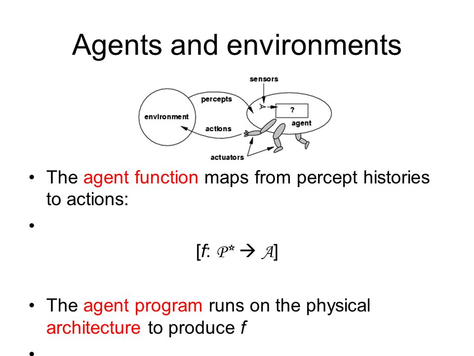 Agents and environments The agent function maps from percept histories to actions: [f: P*  A ] The agent program runs on the physical architecture to