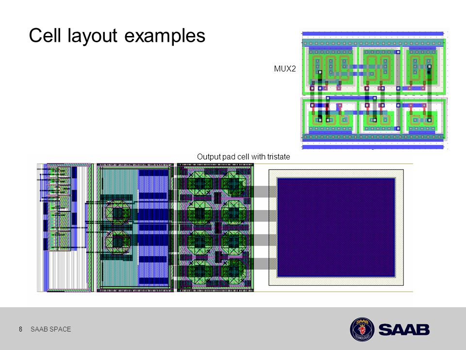 SAAB SPACE 8 Cell layout examples Output pad cell with tristate MUX2