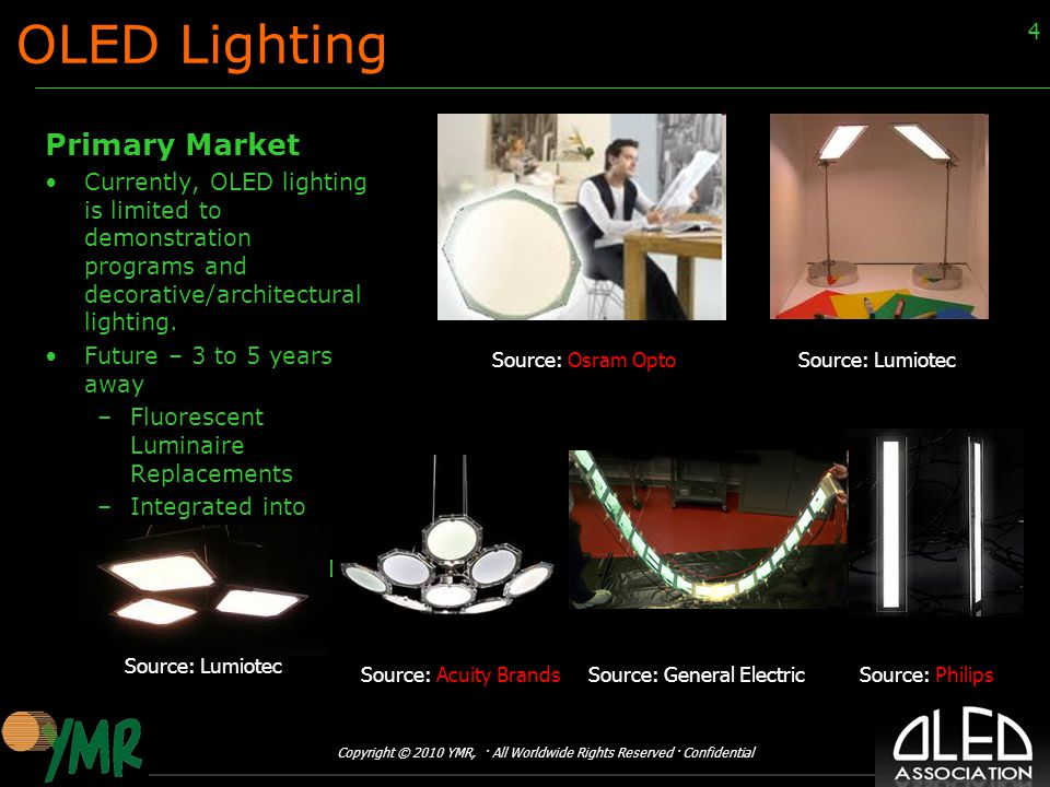Copyright © 2010 YMR, · All Worldwide Rights Reserved · Confidential 4 OLED Lighting Primary Market Currently, OLED lighting is limited to demonstration programs and decorative/architectural lighting.