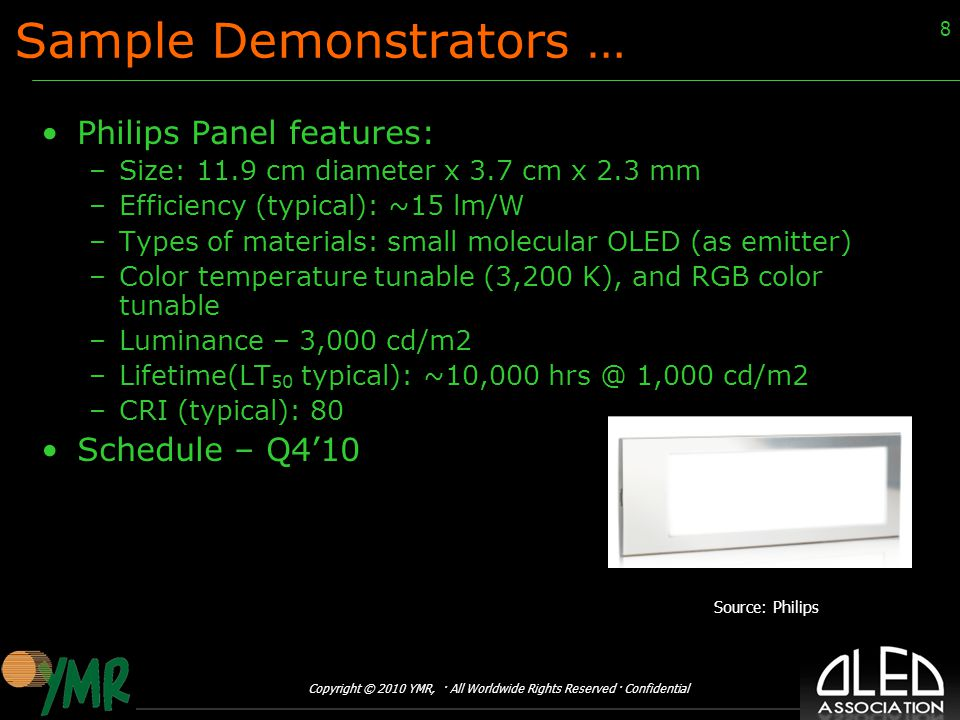 Copyright © 2010 YMR, · All Worldwide Rights Reserved · Confidential 8 Sample Demonstrators … Philips Panel features: –Size: 11.9 cm diameter x 3.7 cm x 2.3 mm –Efficiency (typical): ~15 lm/W –Types of materials: small molecular OLED (as emitter) –Color temperature tunable (3,200 K), and RGB color tunable –Luminance – 3,000 cd/m2 –Lifetime(LT 50 typical): ~10,000 hrs @ 1,000 cd/m2 –CRI (typical): 80 Schedule – Q4'10 Source: Philips