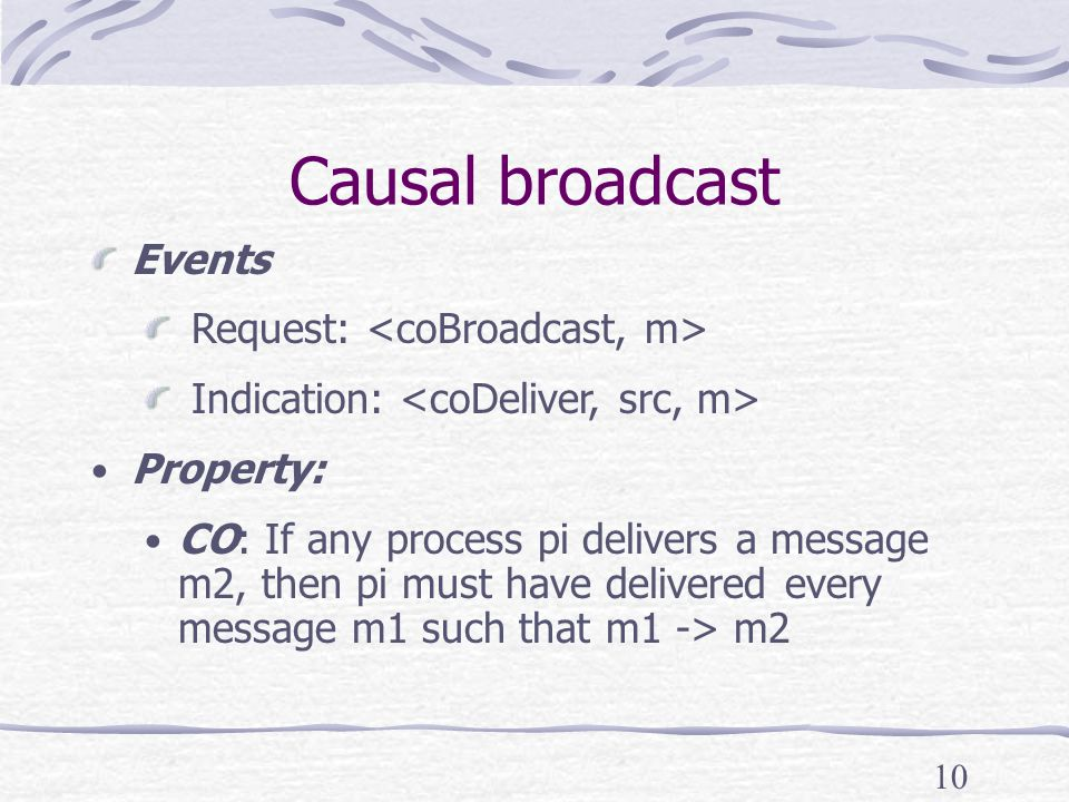 10 Causal broadcast Events Request: Indication: Property: CO: If any process pi delivers a message m2, then pi must have delivered every message m1 such that m1 -> m2