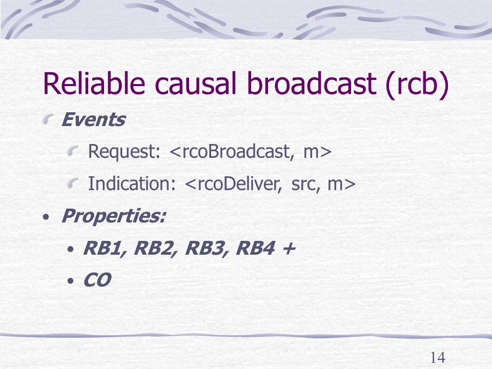 14 Reliable causal broadcast (rcb) Events Request: Indication: Properties: RB1, RB2, RB3, RB4 + CO