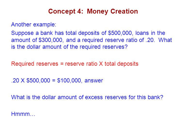 Concept 4: Money Creation Another example: Suppose a bank has total deposits of $500,000, loans in the amount of $300,000, and a required reserve ratio of.20.
