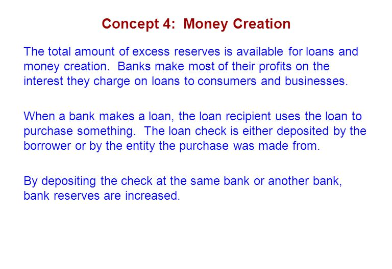 Concept 4: Money Creation The total amount of excess reserves is available for loans and money creation. Banks make most of their profits on the inter