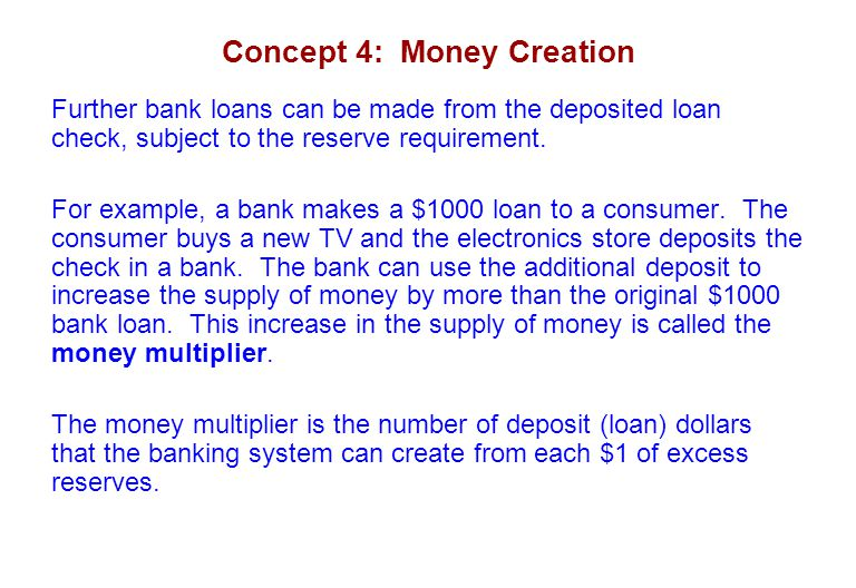 Concept 4: Money Creation Further bank loans can be made from the deposited loan check, subject to the reserve requirement. For example, a bank makes