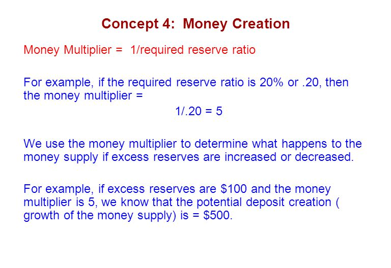 Concept 4: Money Creation Money Multiplier = 1/required reserve ratio For example, if the required reserve ratio is 20% or.20, then the money multiplier = 1/.20 = 5 We use the money multiplier to determine what happens to the money supply if excess reserves are increased or decreased.