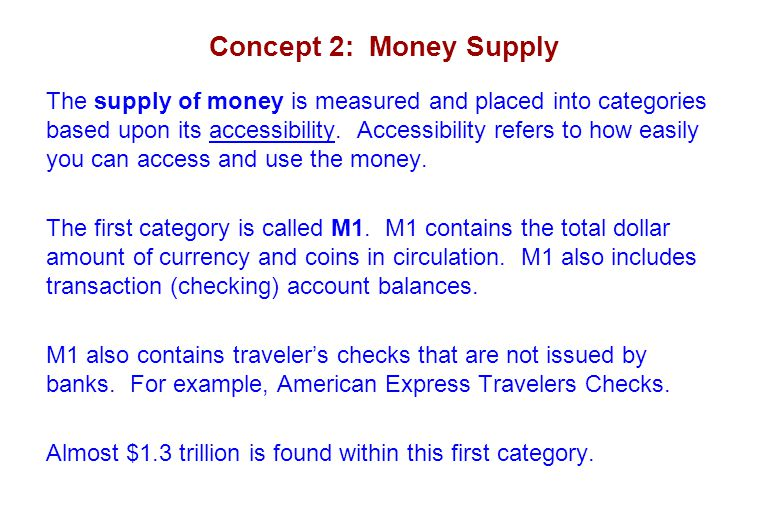 Concept 2: Money Supply The supply of money is measured and placed into categories based upon its accessibility. Accessibility refers to how easily yo