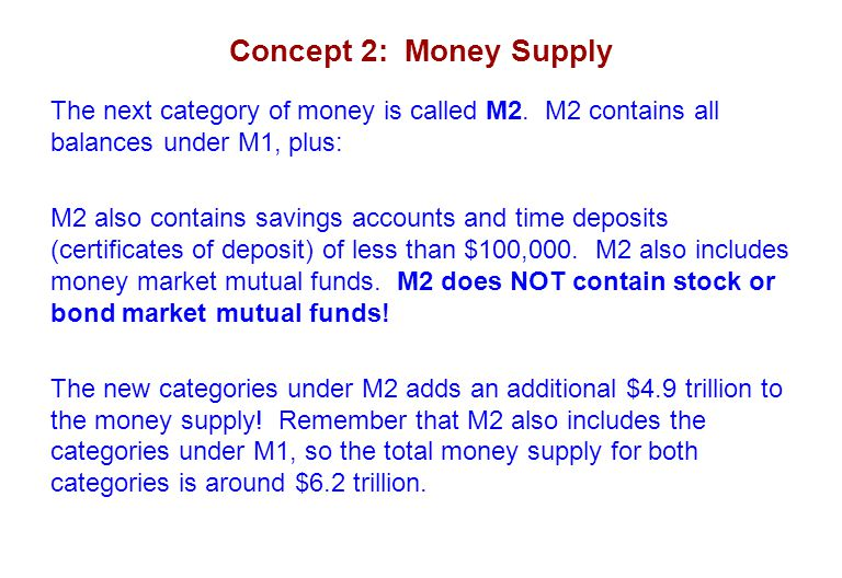 Concept 2: Money Supply The next category of money is called M2. M2 contains all balances under M1, plus: M2 also contains savings accounts and time d