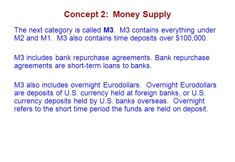 Concept 2: Money Supply The next category is called M3. M3 contains everything under M2 and M1. M3 also contains time deposits over $100,000. M3 inclu