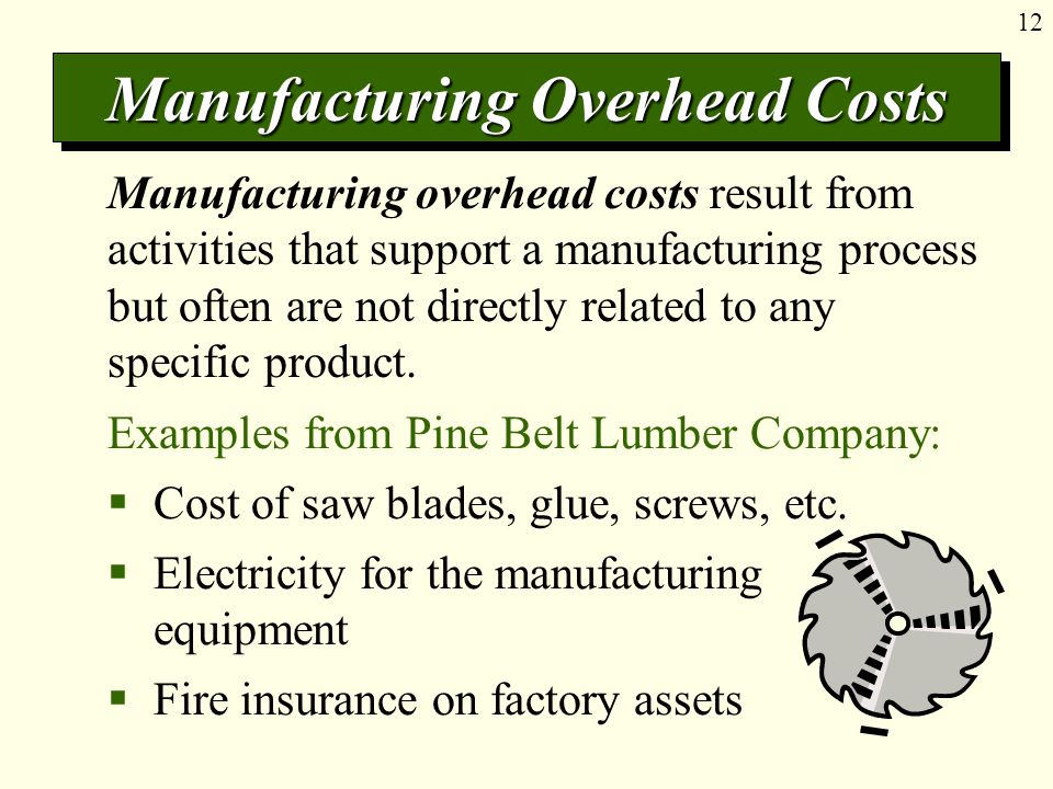 12 Manufacturing Overhead Costs Manufacturing overhead costs result from activities that support a manufacturing process but often are not directly related to any specific product.