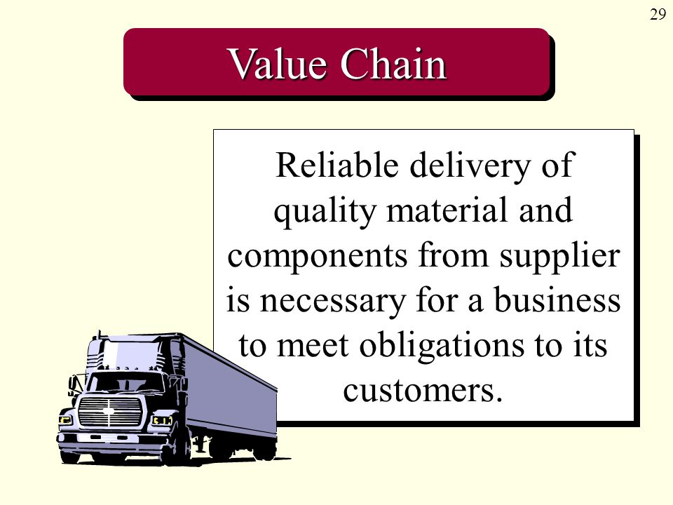 29 Value Chain Reliable delivery of quality material and components from supplier is necessary for a business to meet obligations to its customers.
