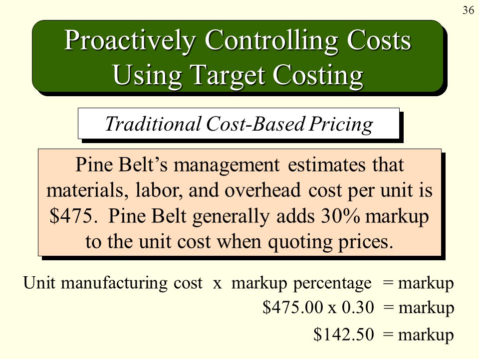 36 Proactively Controlling Costs Using Target Costing Unit manufacturing cost x markup percentage = markup Pine Belt's management estimates that materials, labor, and overhead cost per unit is $475.