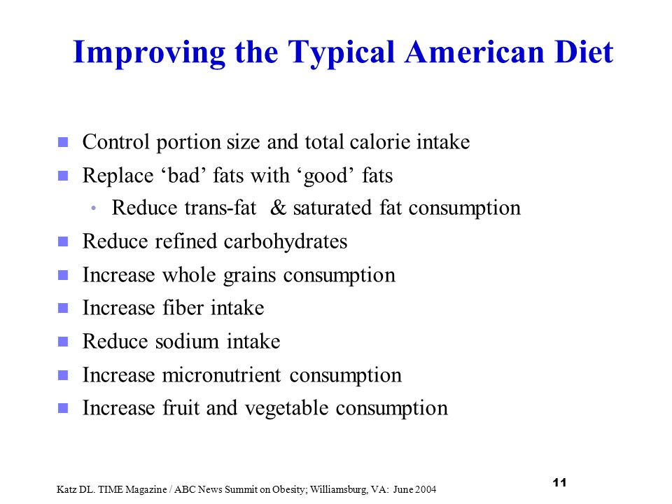 Improving the Typical American Diet Control portion size and total calorie intake Replace 'bad' fats with 'good' fats Reduce trans-fat & saturated fat
