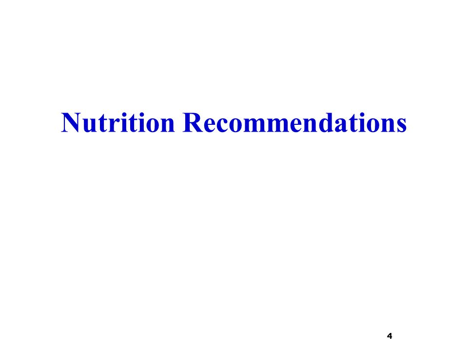 Nutrition Recommendations 4