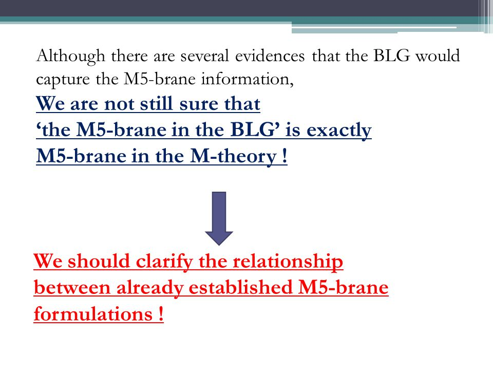 Although there are several evidences that the BLG would capture the M5-brane information, We are not still sure that 'the M5-brane in the BLG' is exactly M5-brane in the M-theory .