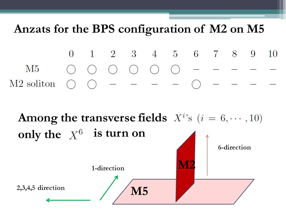 Anzats for the BPS configuration of M2 on M5 Among the transverse fields only the is turn on 2,3,4,5 direction 6-direction 1-direction M5 M2