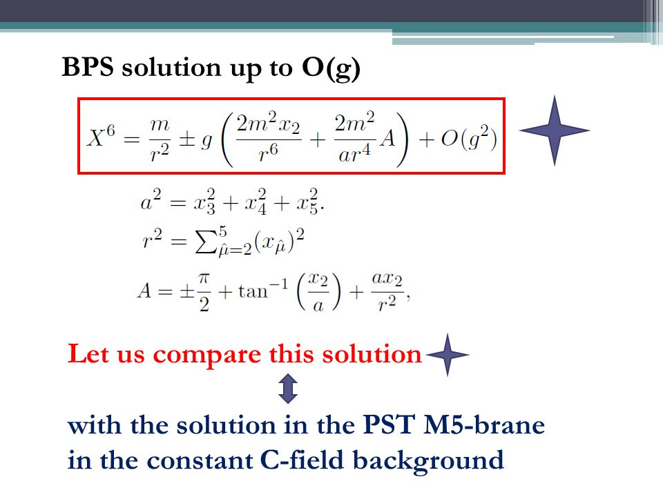 BPS solution up to O(g) Let us compare this solution with the solution in the PST M5-brane in the constant C-field background