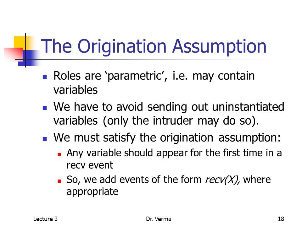 Lecture 3Dr. Verma18 The Origination Assumption Roles are 'parametric', i.e.