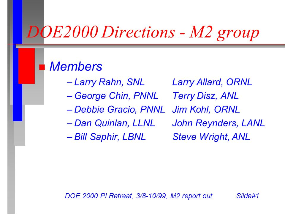 DOE 2000 PI Retreat, 3/8-10/99, M2 report out Slide#1 DOE2000 Directions - M2 group Members –Larry Rahn, SNLLarry Allard, ORNL –George Chin, PNNLTerry Disz, ANL –Debbie Gracio, PNNLJim Kohl, ORNL –Dan Quinlan, LLNLJohn Reynders, LANL –Bill Saphir, LBNLSteve Wright, ANL