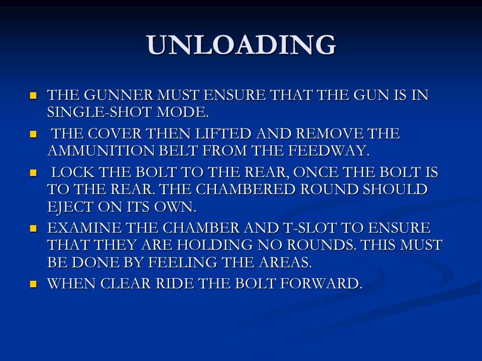 UNLOADING THE GUNNER MUST ENSURE THAT THE GUN IS IN SINGLE-SHOT MODE. THE GUNNER MUST ENSURE THAT THE GUN IS IN SINGLE-SHOT MODE. THE COVER THEN LIFTE