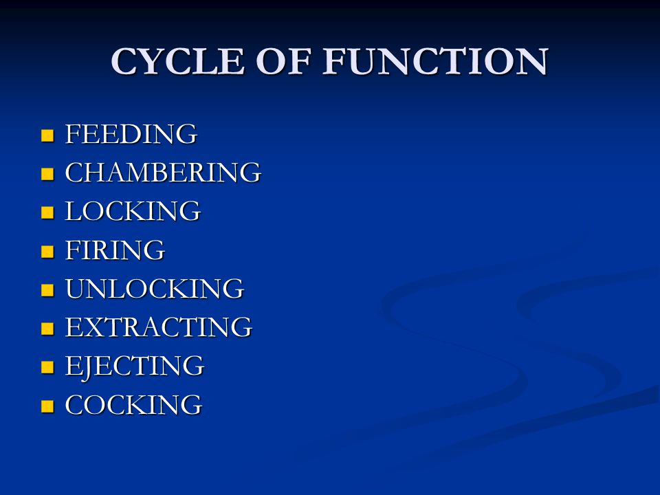 CYCLE OF FUNCTION FEEDING FEEDING CHAMBERING CHAMBERING LOCKING LOCKING FIRING FIRING UNLOCKING UNLOCKING EXTRACTING EXTRACTING EJECTING EJECTING COCK