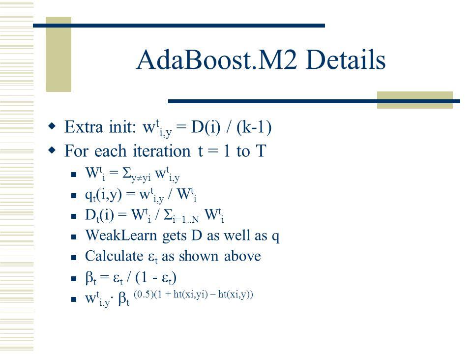 AdaBoost.M2 Details  Extra init: w t i,y = D(i) / (k-1)  For each iteration t = 1 to T W t i =  y  yi w t i,y q t (i,y) = w t i,y / W t i D t (i)