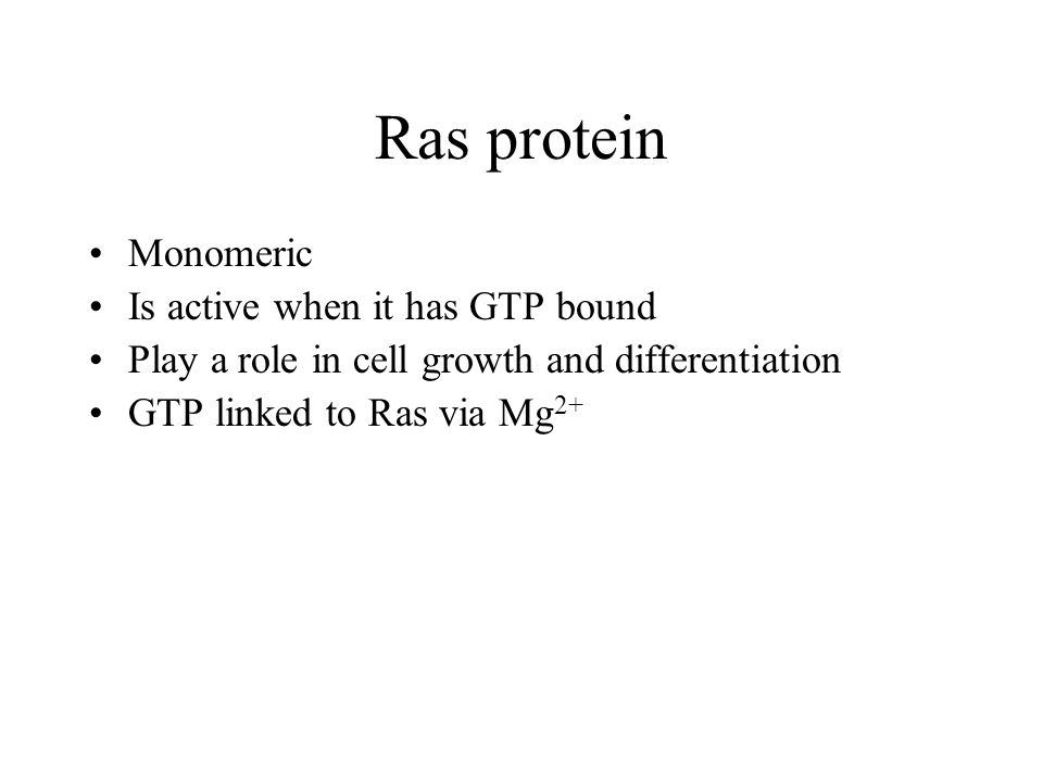 Ras protein Monomeric Is active when it has GTP bound Play a role in cell growth and differentiation GTP linked to Ras via Mg 2+