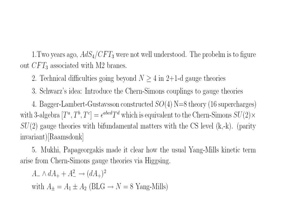 Evidences of AdS4/CFT3 Moduli space index computation (Bhattacharaya, Minwalla N=6; Choi, Lee, Song N=5,4, Kim N=6) Graviton exchange with nonzero angular momentum Matching BPS operators and spectrum