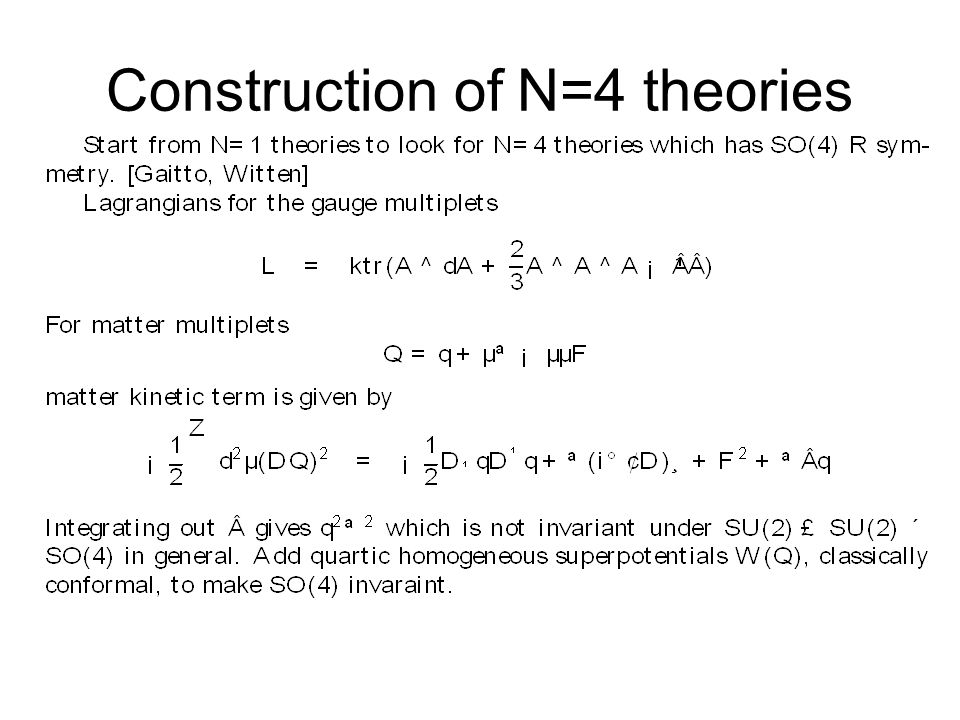Construction of N=4 theories
