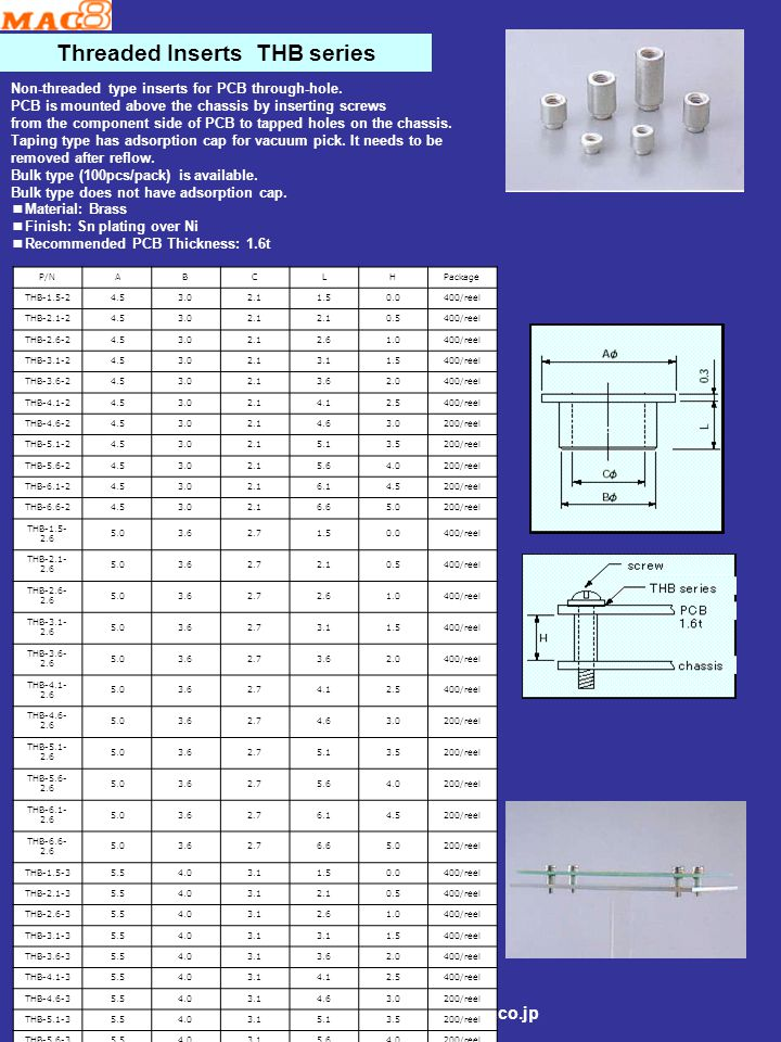Threaded Inserts THC1.6 series ■Stand-off type non-threaded inserts.