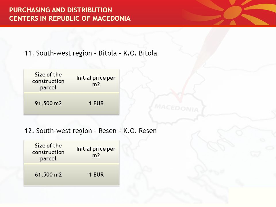 PURCHASING AND DISTRIBUTION CENTERS IN REPUBLIC OF MACEDONIA 11.