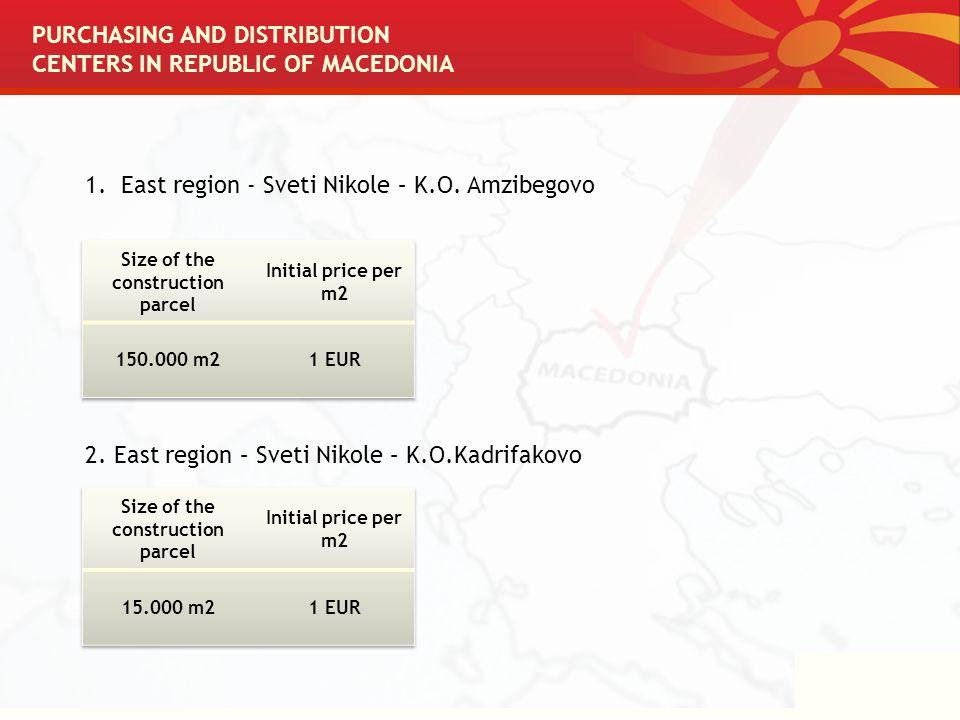 1.East region - Sveti Nikole – K.O. Amzibegovo 2. East region – Sveti Nikole – K.O.Kadrifakovo