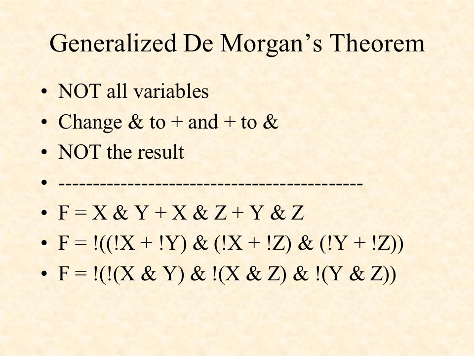 Generalized De Morgan's Theorem NOT all variables Change & to + and + to & NOT the result -------------------------------------------- F = X & Y + X & Z + Y & Z F = !((!X + !Y) & (!X + !Z) & (!Y + !Z)) F = !(!(X & Y) & !(X & Z) & !(Y & Z))