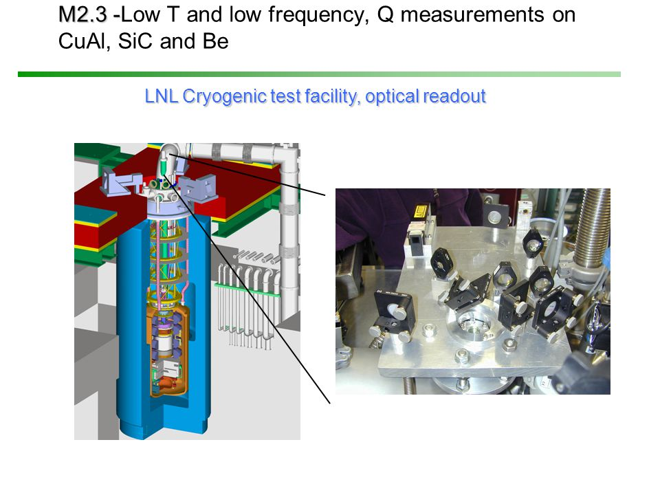 M2.3 - M2.3 -Low T and low frequency, Q measurements on CuAl, SiC and Be LNL Cryogenic test facility, optical readout