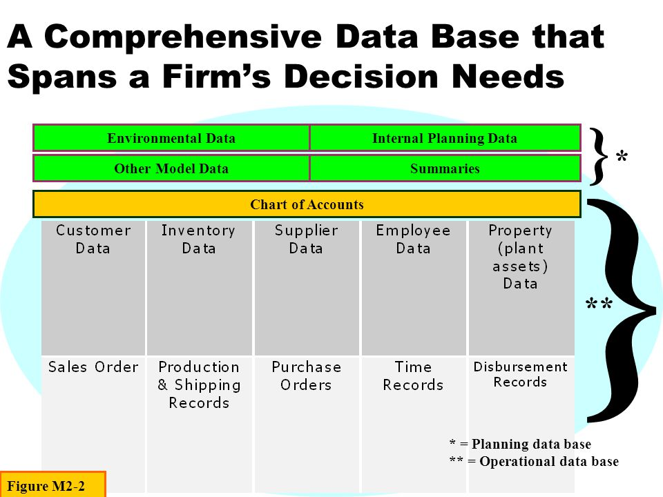 A Comprehensive Data Base that Spans a Firm's Decision Needs Environmental DataInternal Planning Data Other Model DataSummaries Chart of Accounts } } * ** * = Planning data base ** = Operational data base Figure M2-2