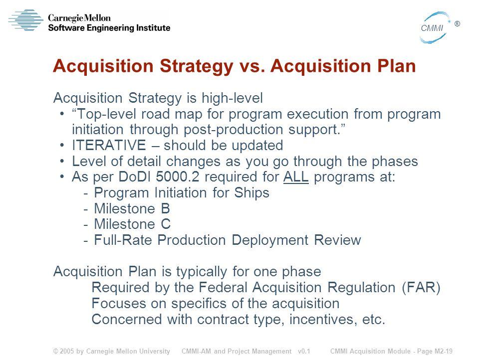 © 2005 by Carnegie Mellon University CMMI Acquisition Module - Page M2-19 CMMI ® CMMI-AM and Project Management v0.1 Acquisition Strategy vs. Acquisit
