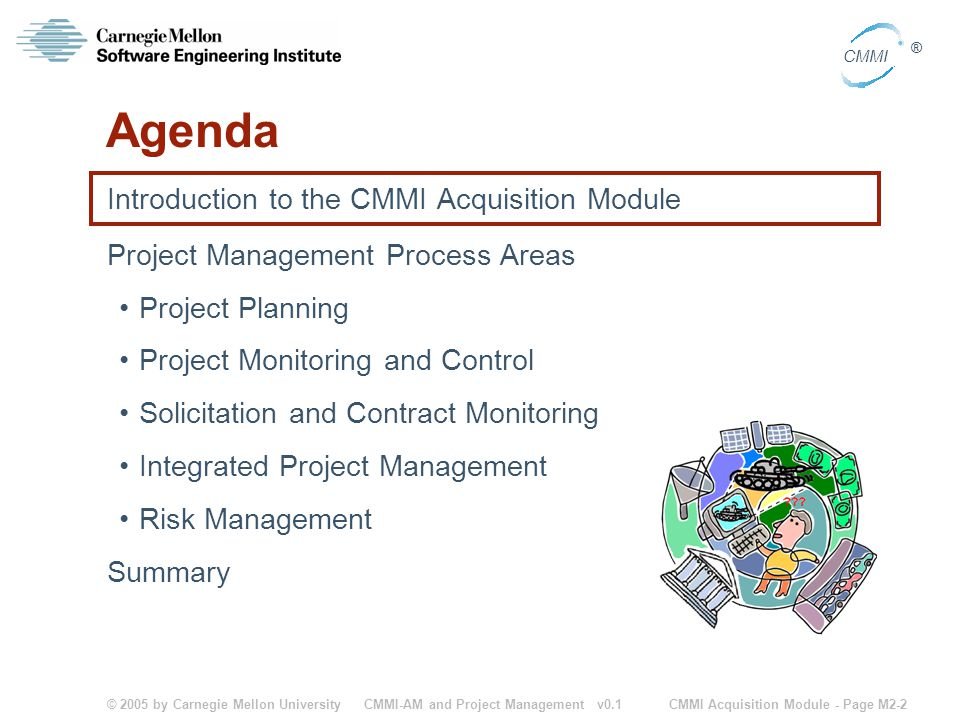 © 2005 by Carnegie Mellon University CMMI Acquisition Module - Page M2-2 CMMI ® CMMI-AM and Project Management v0.1 Agenda Introduction to the CMMI Ac