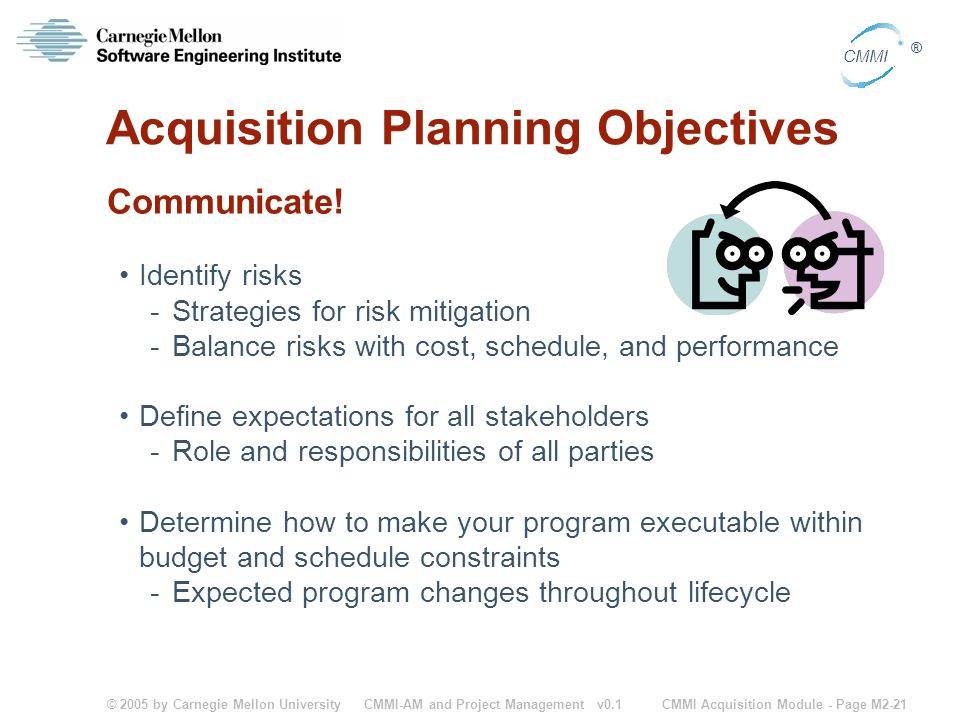 © 2005 by Carnegie Mellon University CMMI Acquisition Module - Page M2-21 CMMI ® CMMI-AM and Project Management v0.1 Acquisition Planning Objectives C
