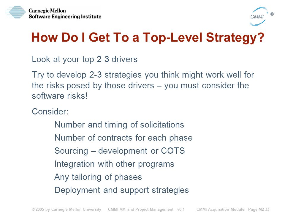 © 2005 by Carnegie Mellon University CMMI Acquisition Module - Page M2-33 CMMI ® CMMI-AM and Project Management v0.1 How Do I Get To a Top-Level Strat